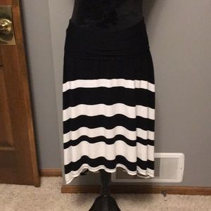 Pink lotus black and white striped high low skirt